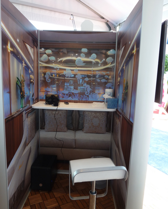 Virtual reality booth showing the interiors of Quattroelle Yacht introduced by Lurssen at FLIBS 2013