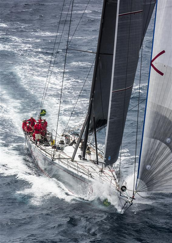 Wild Oats XI Yacht on the approach to the finish line - Photo credit to Rolex Daniel Forster