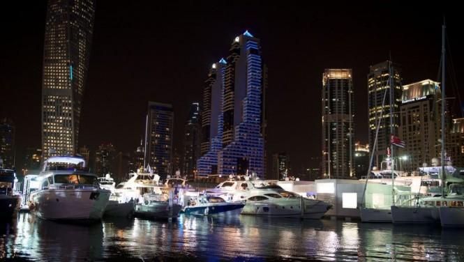 Dubai International Boat Show by night
