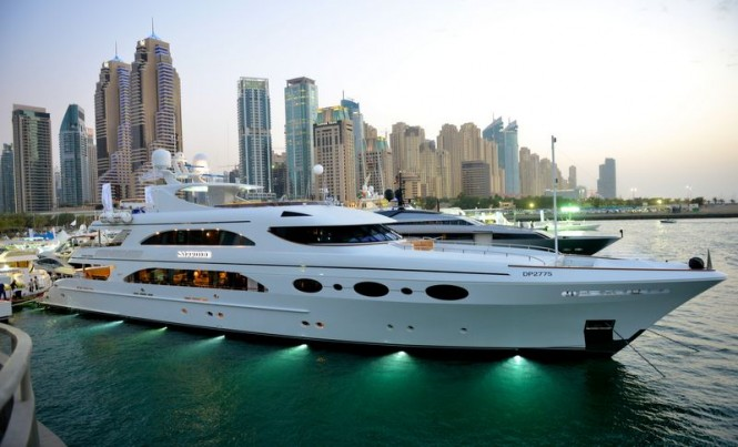 Luxury superyachts on display at Dubai International Boat Show