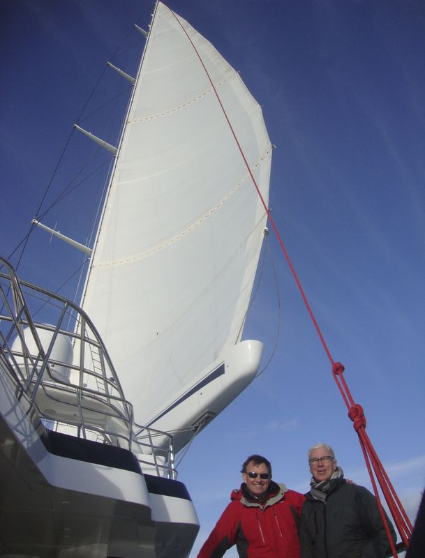 Ron Holland and Mike Carr, joint managing director of Pendennis Shipyard on deck of the M5 Yacht during Sailing Trials