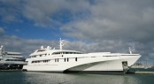 61m mega yacht White Rabbit Echo hauled at Titan Marine