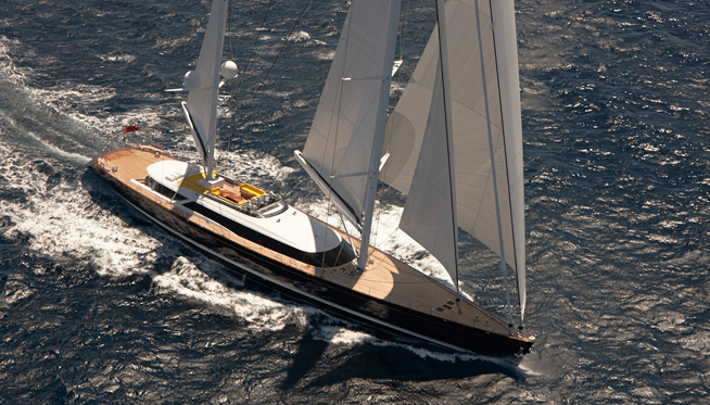 Alloy superyacht Mondango3 under sail
