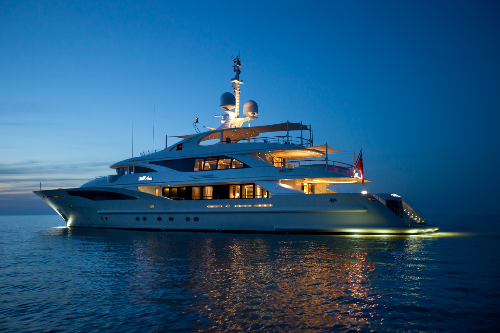 Yachts At Night Bella Anna yacht - by ...