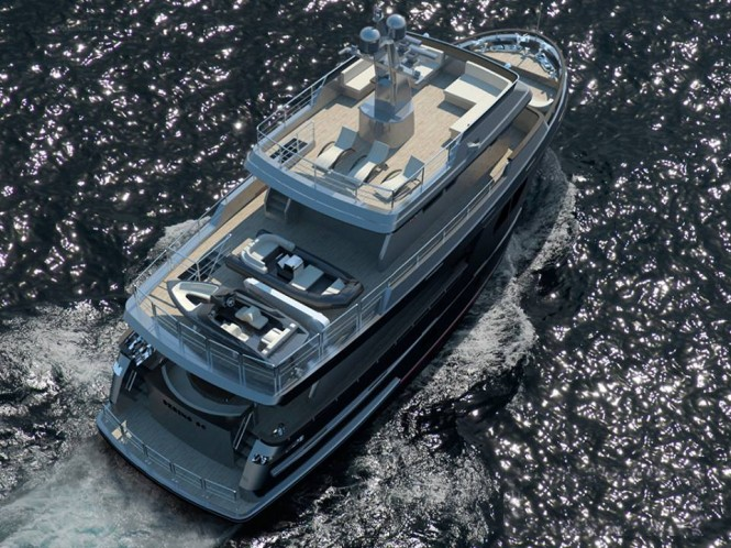 Bering 80 superyacht from above