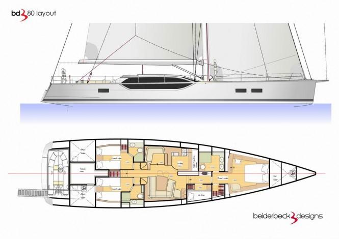 Luxury yacht Bd80 - Layout