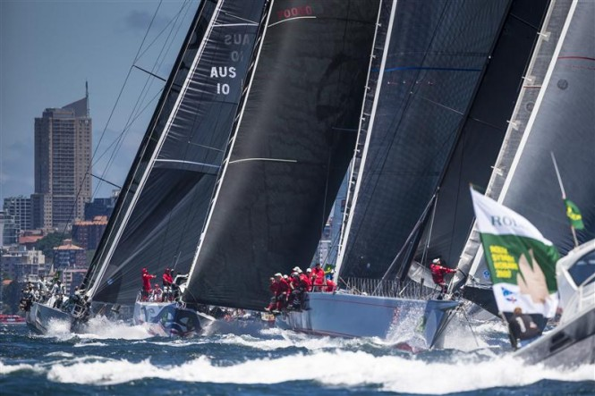 Maxi yachts at the start of the Rolex Sydney Hobart Race