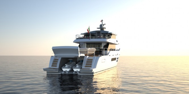 Oceanic - Canados 90' luxury yacht Hull no. 1 - aft view