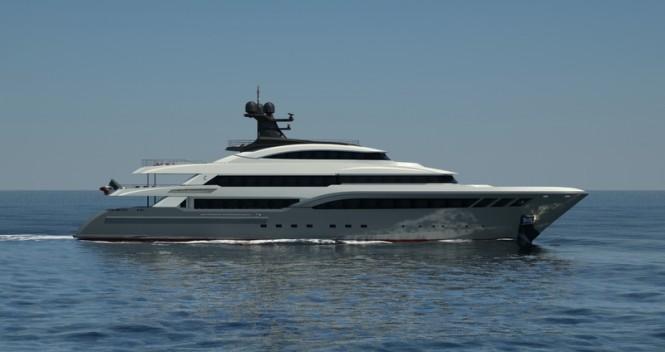 Rendering of Columbus Classic 68m superyacht Hull C04