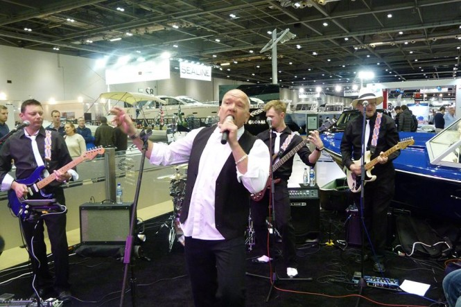 Sunseeker's very own staff band, The Sunseeker Renegades performing at London Boat Show to raise money for breast cancer clinical trials