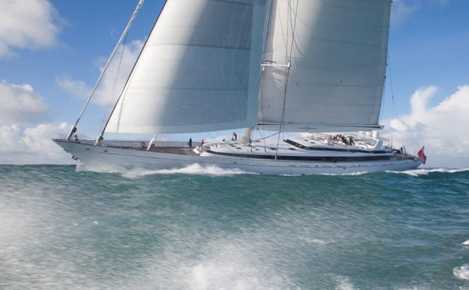 Superyacht M5 (ex Mirabella V) under sail in January 2014  - Image courtesy of Ron Holland Design