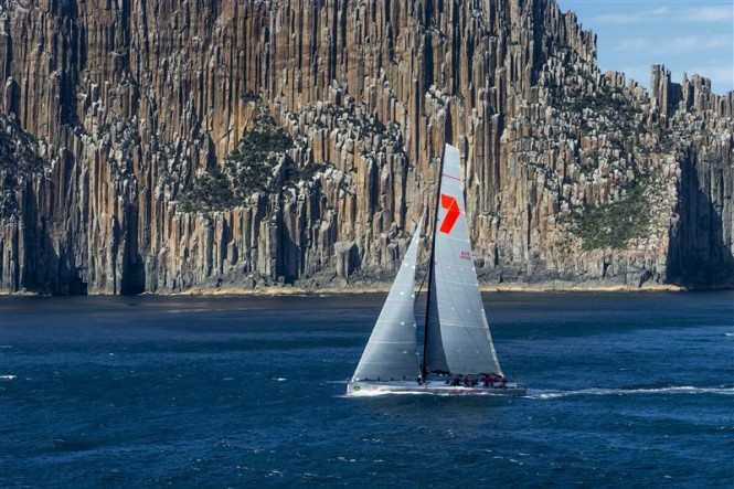 Superyacht Wild Oats XI passing Tasmania's iconic Organ Pipes