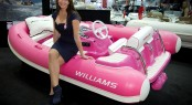 Suzi Perry launches the Williams Pink Turbojet 325 yacht tender for Breast Cancer Care