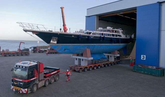 Tamer 2 Yacht leaving her shed at Jongert
