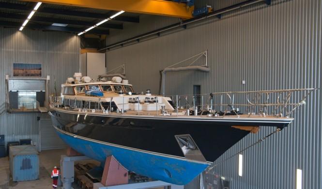 Tamer II superyacht in her shed at Jongert