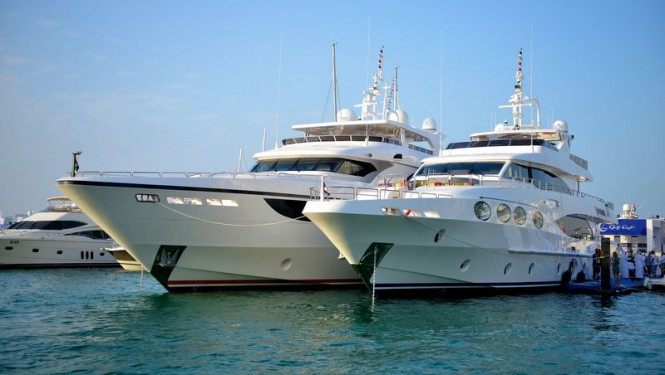 Luxury superyachts on display at Dubai Boat Show