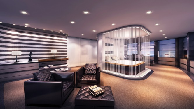 Austin superyacht concept - Owners Suite by night