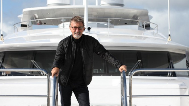 Eddie Jordan aboard his Sunseeker 155 luxury yacht BLUSH