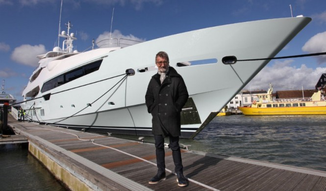 Eddie Jordan with his Sunseeker 155 Yacht BLUSH