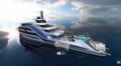 ICON superyacht SELAZZIO 95 SEA PALACE concept developed in partnership with Motion Code- Blue