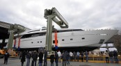 Luxury motor yacht H1 at her launch at Sanlorenzo - Image courtesy of Sanlorenzo