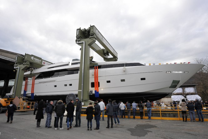 Luxury motor yacht H1 at her launch at Sanlorenzo