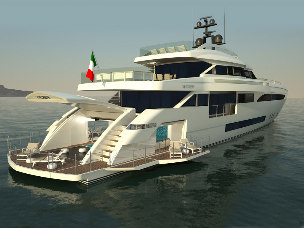 Luxury yacht Wider 150 - aft view — Yacht Charter ...