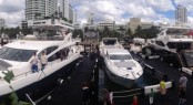 Luxury yachts by Sunseeker on display at Miami International Boat Show 2013