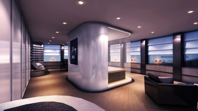 Owners Suite with logo of Austin Yacht Concept by night