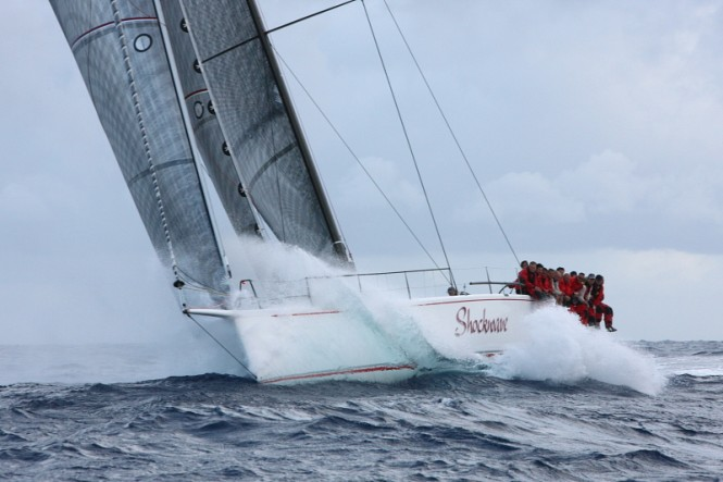 George Sakellaris' Shockwave en route to Redonda. Credit: Tim Wright/photoaction.com