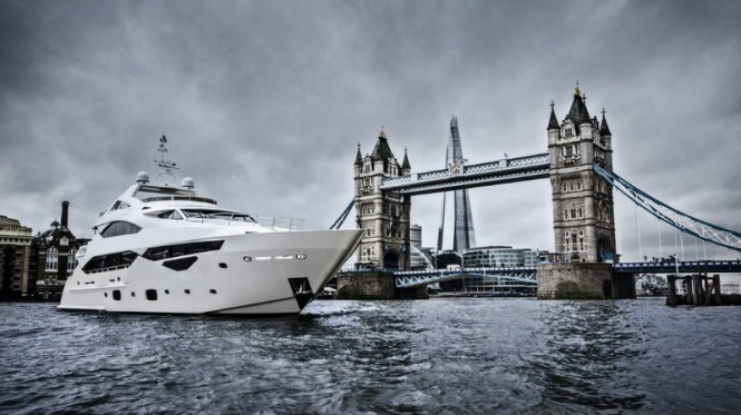 Sunseeker 40 Metre Yacht photographed against the stunning back drop of Tower Bridge by Tom Benson