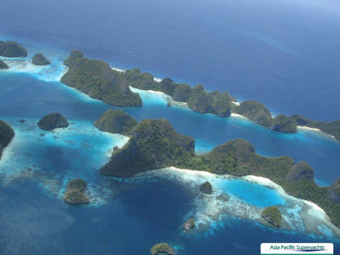 The fabulous Indonesia yacht charter location - Raja Ampat from above