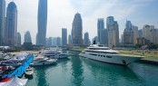 88m Lurssen mega yacht QUATTROELLE on display at the 2014 Dubai Boat Show