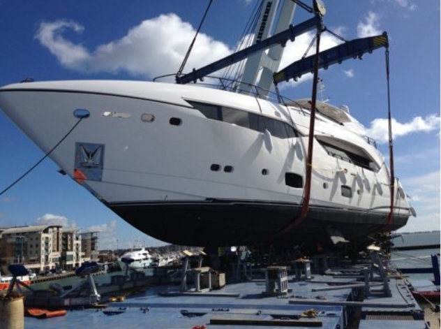 A Sunseeker superyacht being loaded by GBS