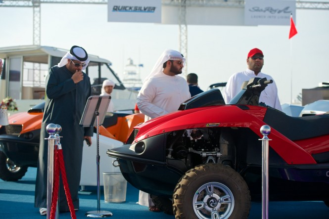 Amphibious quad skis from Gibbs Sports on display at the 2014 DIBS