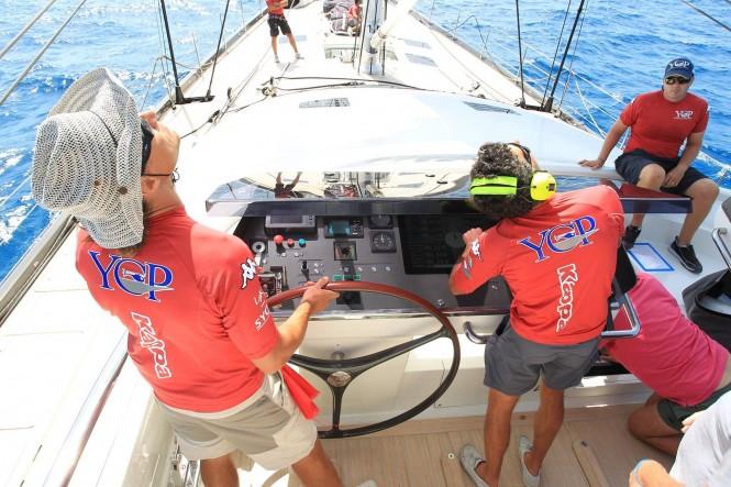Crew aboard luxury yacht Ohana