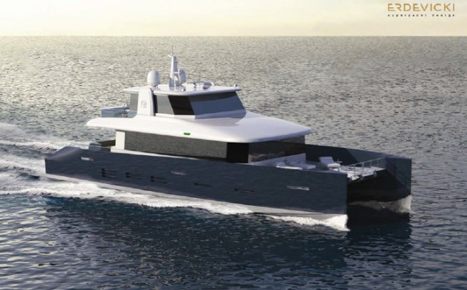 Enclosed fly-bridge version of motor yacht KingCAT 80 design
