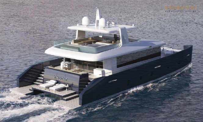KingCAT 80 Yacht Concept - Open fly-bridge version - Aft view