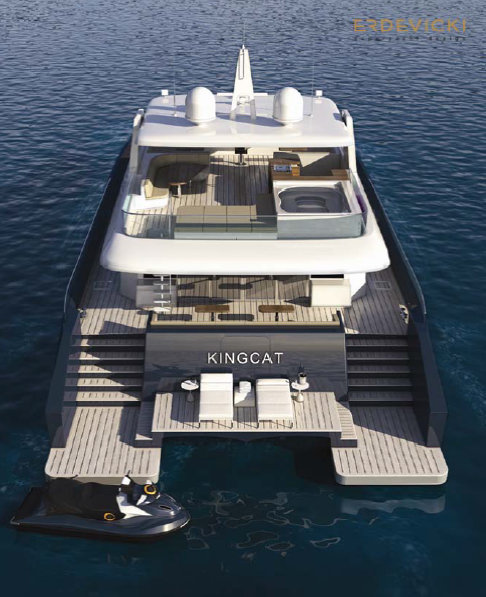 KingCAT 80 Yacht - Swim platform Beach Club - both versions