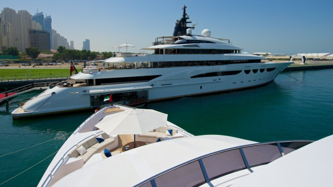 Lurssen mega yacht Quattroelle on display at the 2014 Dubai Boat Show