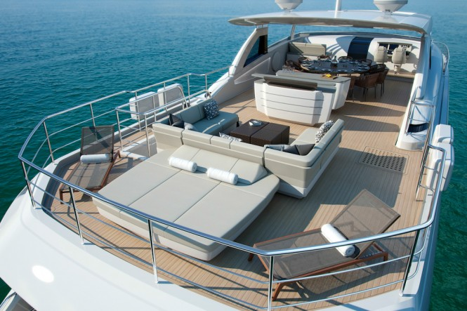Luxury Yacht Princess 35M Flybridge Aft with Owner's Bespoke Upgrades - Image courtesy of Princess Yachts International Plc