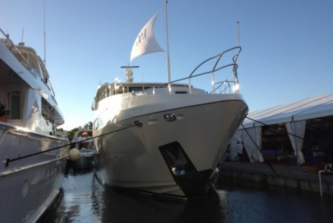 Luxury motor yacht Lady Christing on display at the 2014 Miami Yacht Show