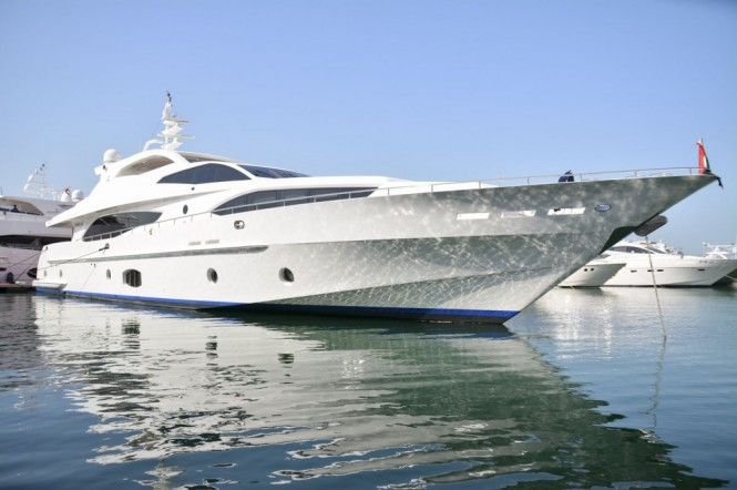 Luxury yacht Majesty 121 at the Dubai International Boat Show