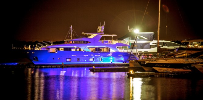 Luxury yacht Zaphira by night