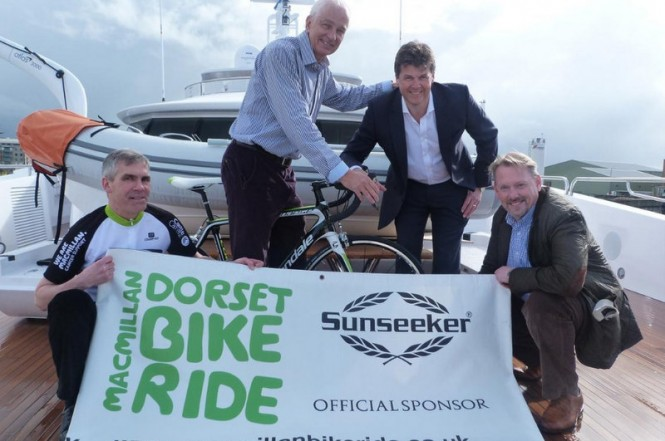 Pictured left to right: Event Organiser Peter Smith-Nicholls, David Gower OBE, Sunseeker Operations Director Wayne Moore & Bill Temple MD of Primera Sports