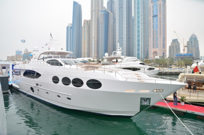 Majesty 105 at the Dubai International Boat Show