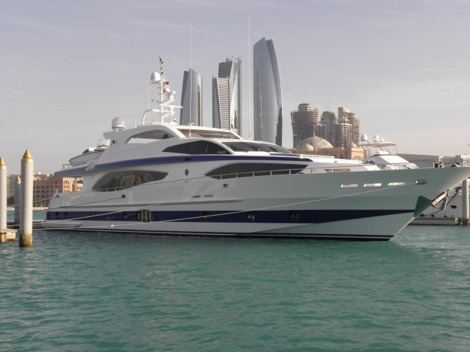 Majesty 121 Superyacht being showcased by Gulf Craft at the 2014 Dubai Boat Show