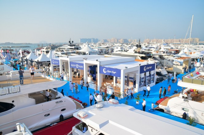 Majesty Yachts stand at the Dubai International Boat Show