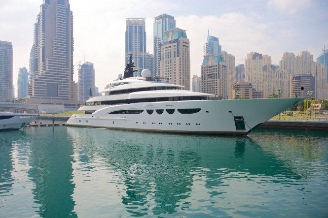 Mega yacht Quattroelle on display at the 2014 Dubai Boat Show
