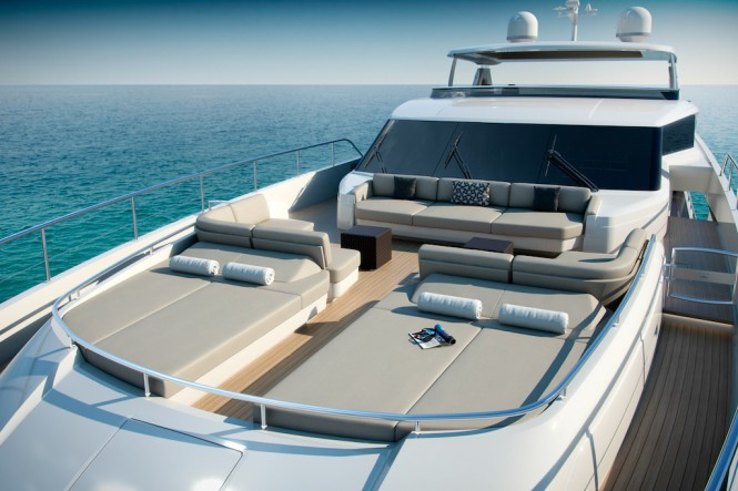 Princess 35m Superyacht - Foredeck - Image courtesy of Princess Yachts International Plc